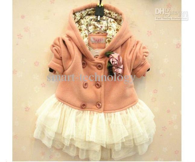 baby girl fashion flower jackets kids cute dress coat children trench ZYF1026268