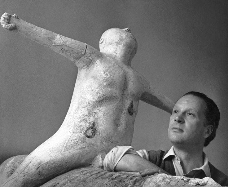 Marino Marini in his Studio (Atelier), Milan, Italy, 1952.  Photographed by Herbert List.