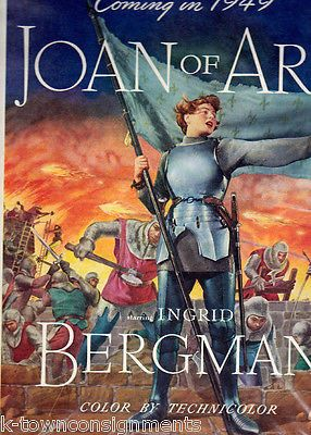 INGRID BERGMAN JOAN OF ARC VINTAGE 1940s GRAPHIC ART MOVIE POSTER