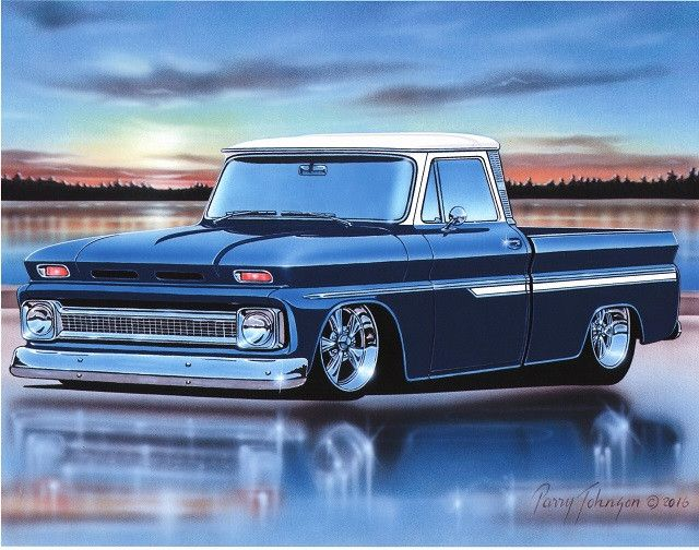 1964 65 66 Chevy C10 Fleetside Pickup Truck Art Print 11x14 64 1965 1966