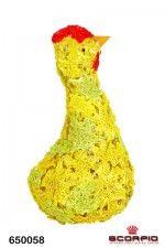 Петушок, 22 см, сизаль, желтый/салатовый