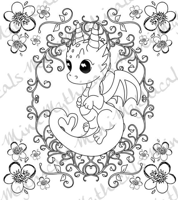Love Dragon Adult Coloring Page Cute Mythical Creature Coloring