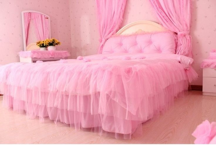 Details about 4pc hot new princess lace ruffle bedding for Hot pink bedroom set