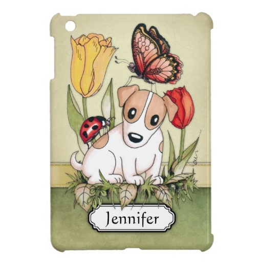 Cute Puppy with Butterfly, Ladybug and Tulips personalizable iPad Mini Case $44.40 #cute #dog #butterfly #ladybug #flowers #nature #iPad #mini #cases