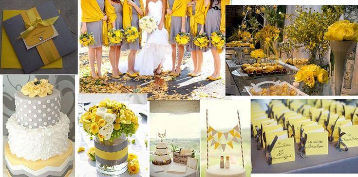 Paleta de Cores do Casamento - Amarelo e cinza