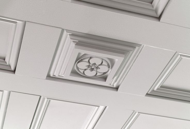Metrie French Curve Ikons are fabulous #rosettes that can be applied virtually anywhere. Here the Ikons were used in the #ceiling treatment. #moulding #trim #trimwork
