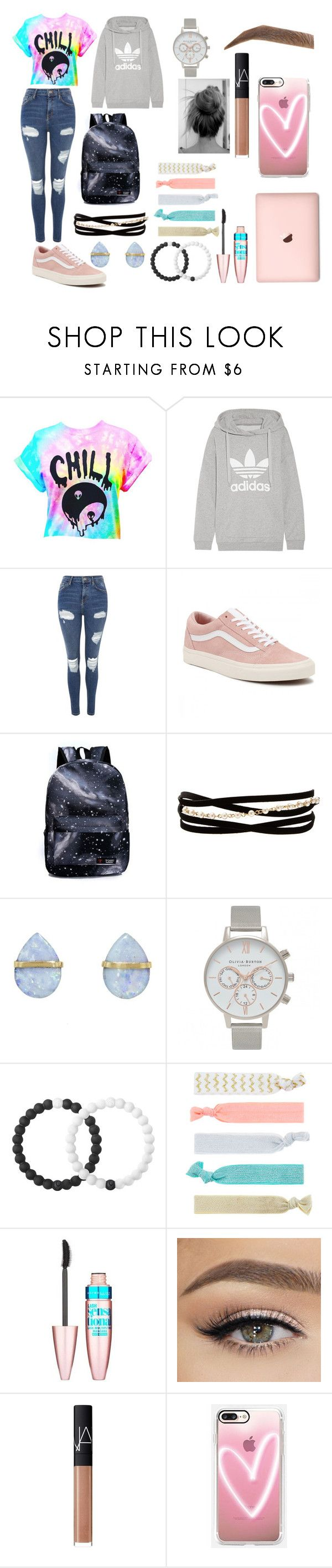 """college day"" by average-addison on Polyvore featuring adidas Originals, Topshop, Vans, Kenneth Jay Lane, Melissa Joy Manning, Olivia Burton, Lokai, Accessorize, Maybelline and NARS Cosmetics"