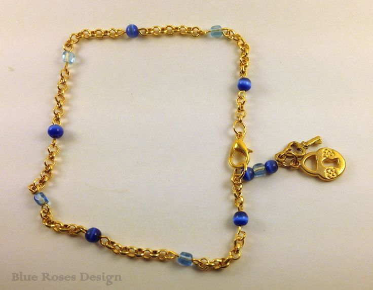 girlfriend her customankletsbylori blue anklets pin for anklet gift by on etsy