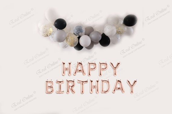 HAPPY BIRTHDAY 16 Rose Silver Or Gold Foil Balloons Birthday Banners Happy 30 20 21 90th BannerParty Banner