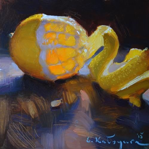 "Daily Paintworks - ""Lemon Study"" - Original Fine Art for Sale - © Elena Katsyura"