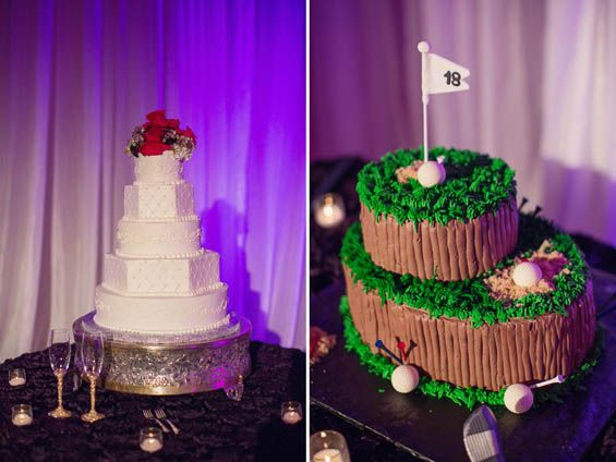 His and her wedding cakes.