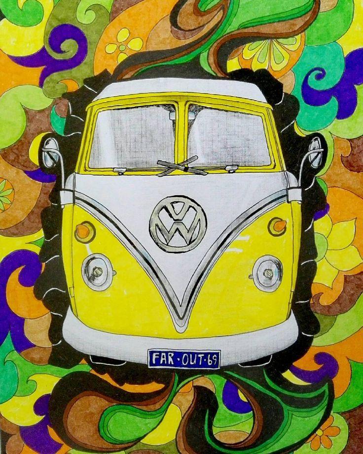 @reekie11 op Instagram: '#flowerpower #dreamcar #decoratie #tekening #pen #forsale #hippie #volkswagen'