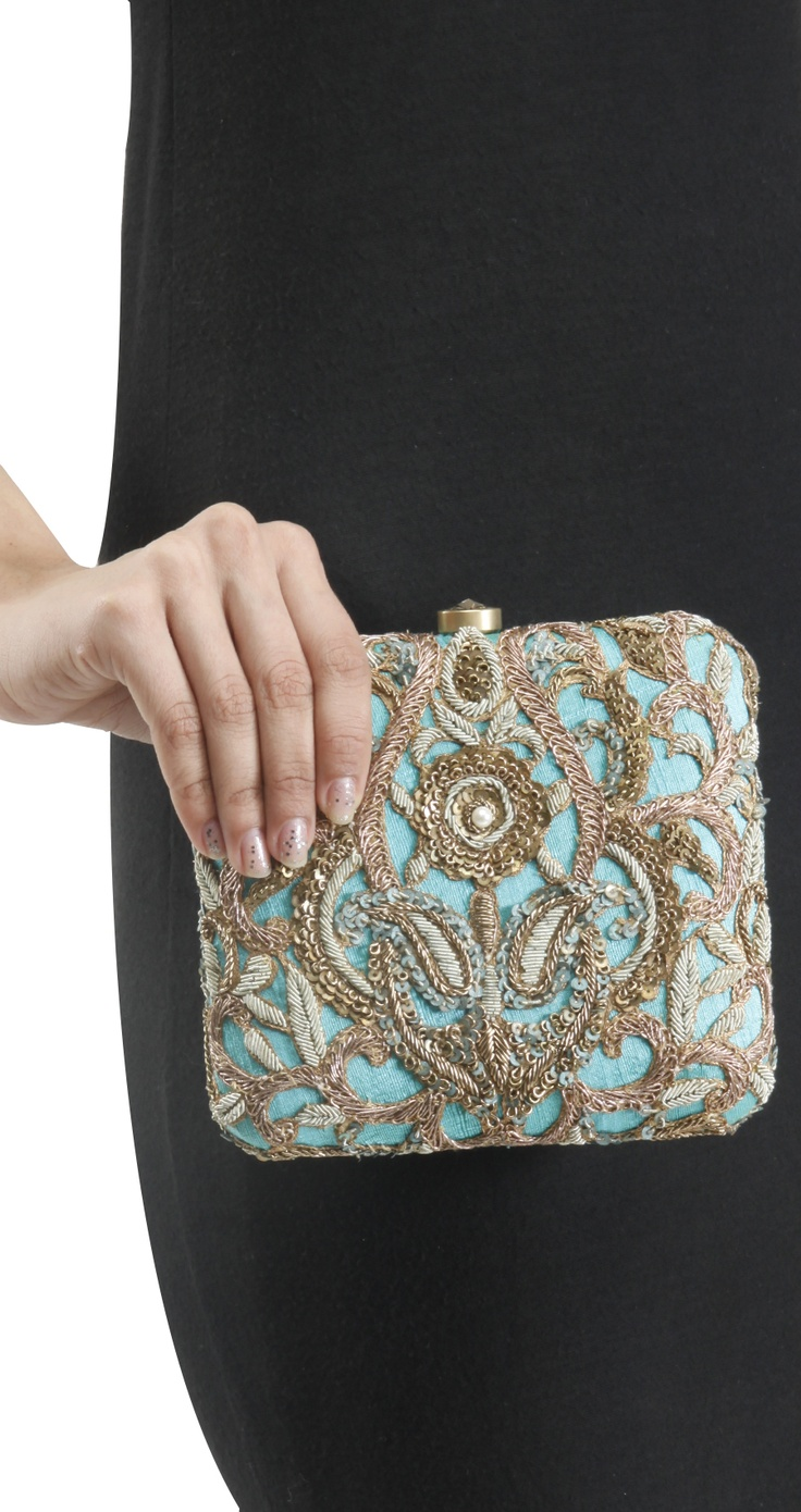 Blue embroidered clutch by LOVE TO BAG.
