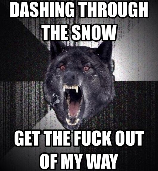 Dashing through the snow, Get the fuck out of my way! Insanity ...