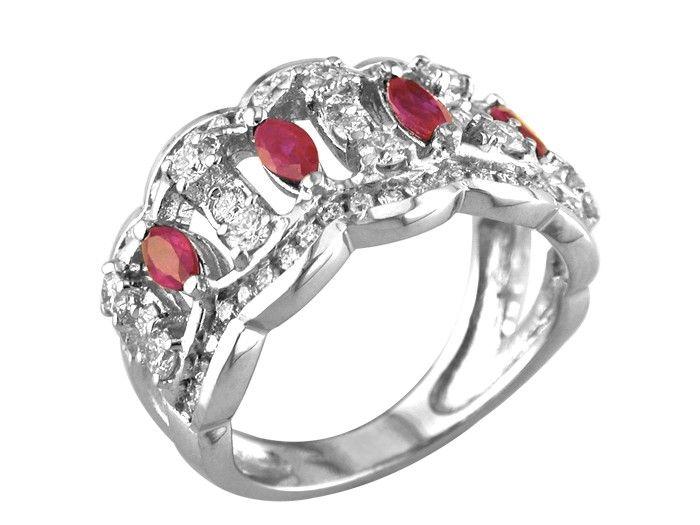 18kt White Gold Ruby Diamond Ring. $3,710.