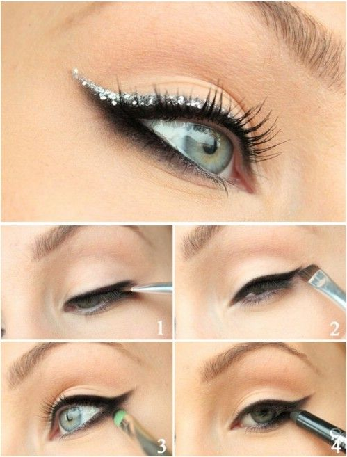 Glitter Cat-Eye - 10 Stylishly Festive New Years Eve Makeup Ideas! #NYE #makeup