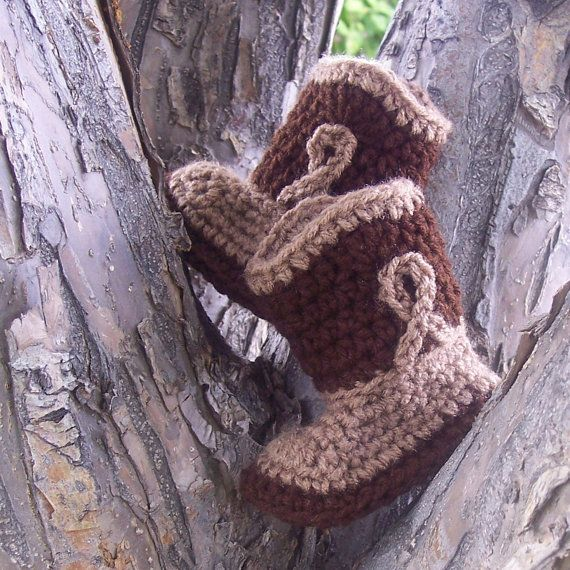 Cowboy Boots Brown and Tan Crochet Booties in Size 6 by puddintoes, $18.00