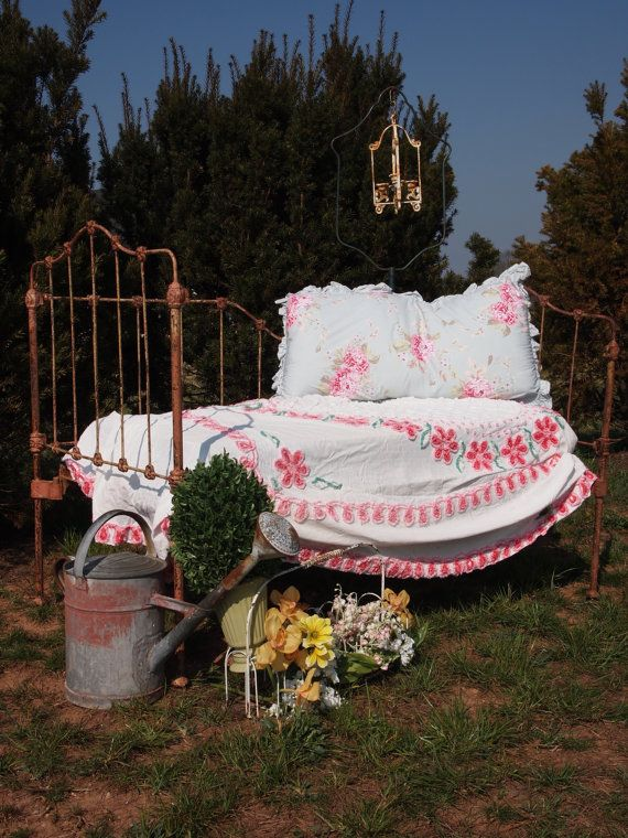 Shabby Chic Furniture Cottage Iron Day Bed - With or without vintage crib mattress. $255.00, via Etsy.