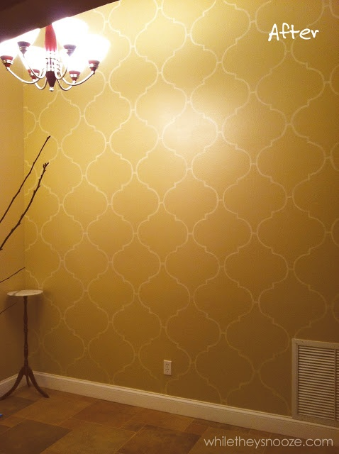 While They Snooze: DIY Moroccan-Style Wall Stencil Tutorial  This is exactly what I want to do in my bedroom