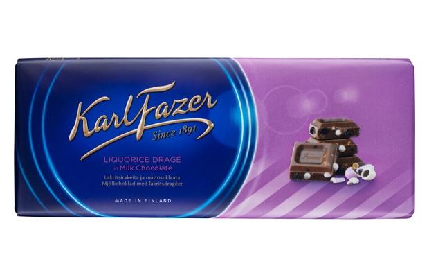Karl Fazer 200g Lakritsirakeita ja maitosuklaata suklaalevy