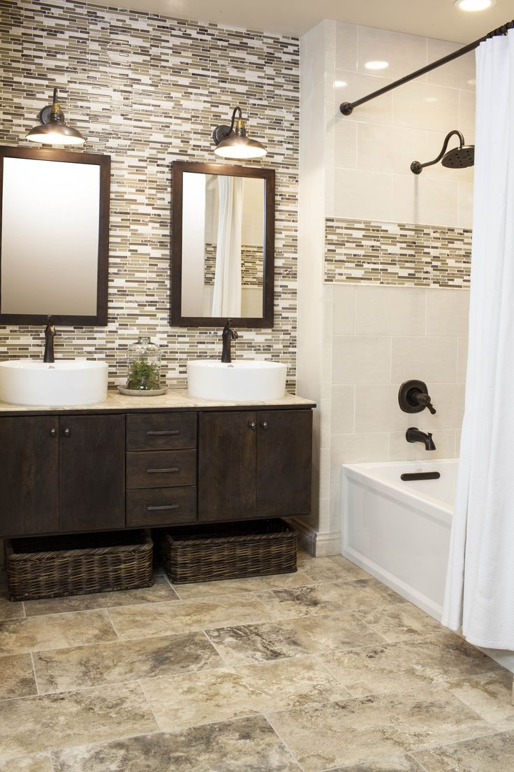 continue accent tile in shower to backsplash for vanity | Design ...