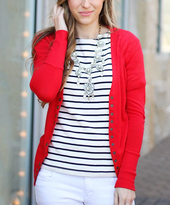 Red Snap Cardigan