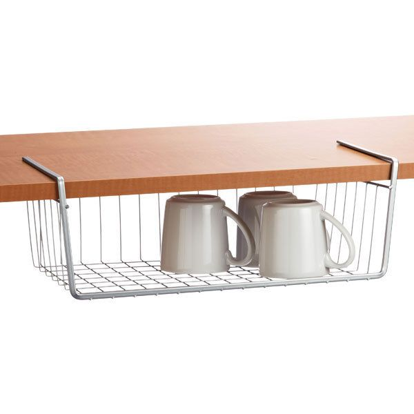 OR put shelves UNDER your shelves.   31 Insanely Clever Ways To Organize Your Tiny Kitchen