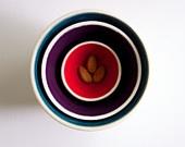 Керамические чаши вложения в Тил, фиолетовый, и красный по RossLab-набор из 3