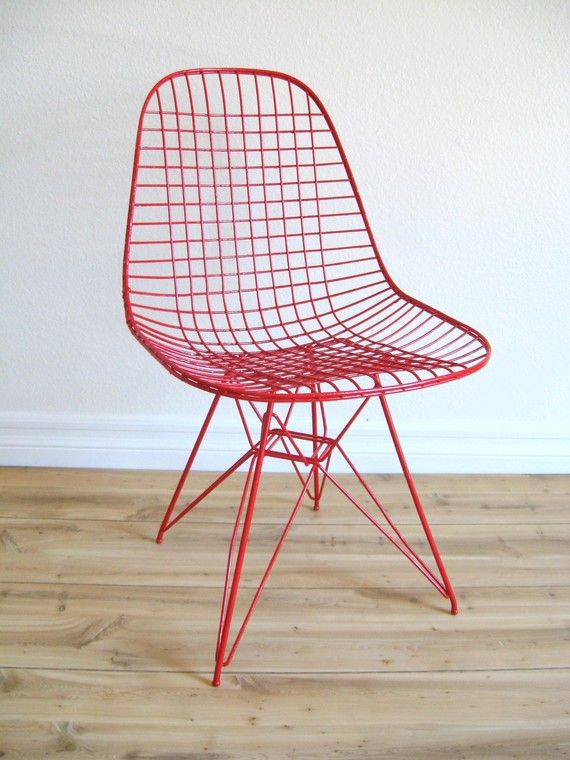 50s red mid century modern eames chair red chair eames for Chaise eames dkr