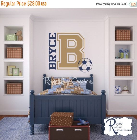 Sale Varsity Letter Decal with Personalized Name and Soccer Ball B24 for Teen Boys Bedroom Sports Wall Decal Soccer Ball Wall Decal