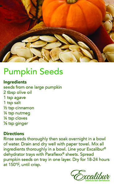 Have you carved your pumpkin yet? In case you missed it. Make Pumpkin Dehydrated Seeds with Excalibur Dehydrators!