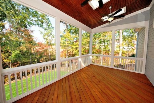 Enclosed #deck, white handrails, #skylights and #fans - perfect outdoor entertaining area. www.buildingworksaust.com.au @Elaine Morrow Works Australia