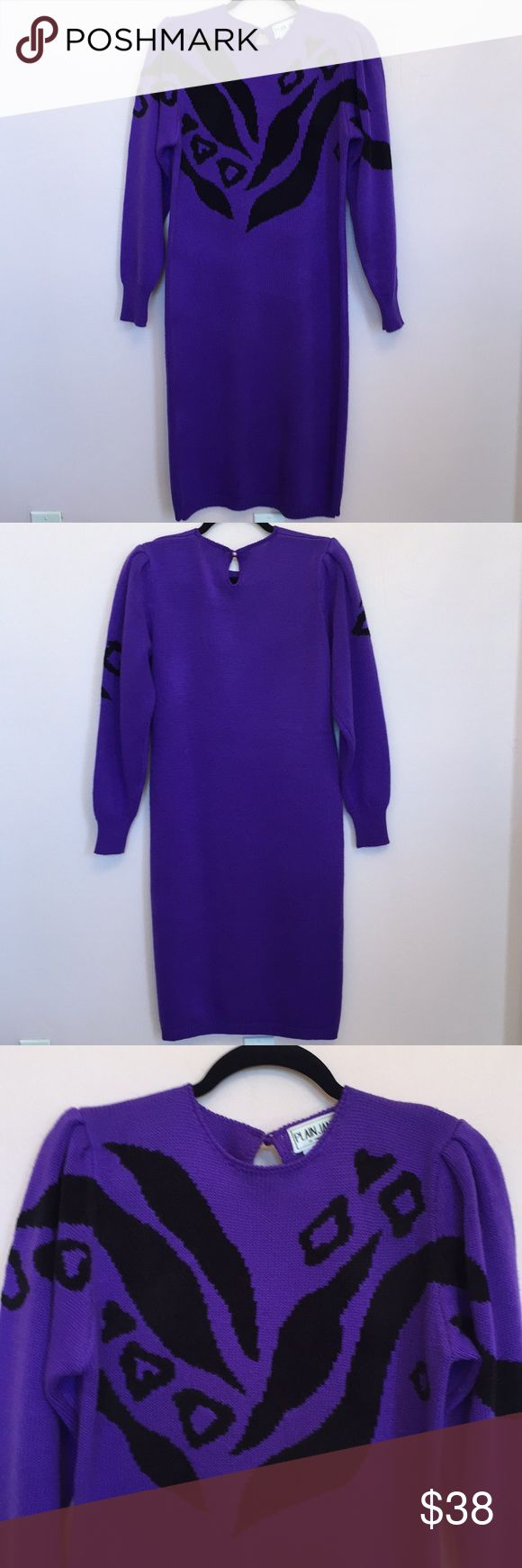 "Vintage Plain Jane Sweater Dress Fabulous vintage Plain Jane Sweater Dress with animal print!! In purple and black 💯 acrylic knit made in Hong Kong, measures 41.5"" long, excellent vintage condition Vintage Dresses"