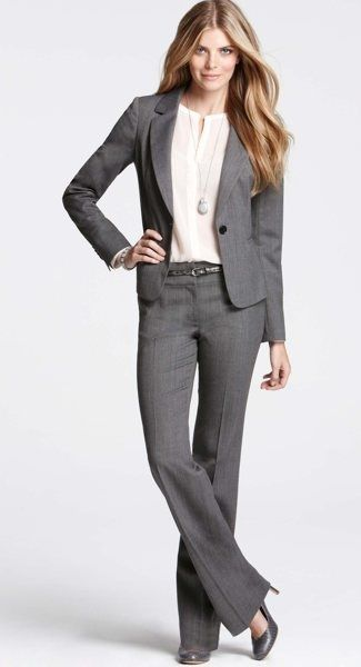 Grey ann taylor suit, business formal women.