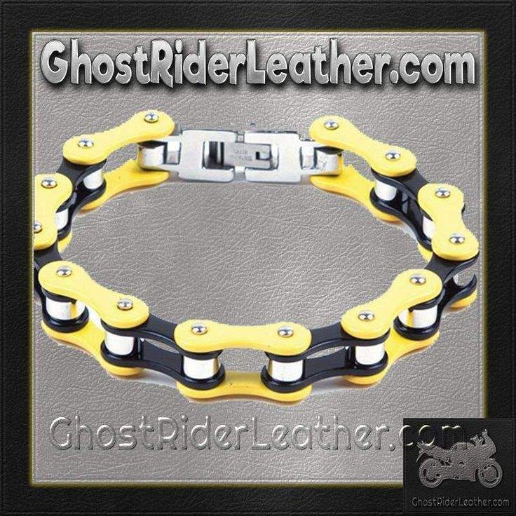 Yellow and Black Motorcycle Stainless Steel Chain Bracelet / SKU GRL-BR23-DL