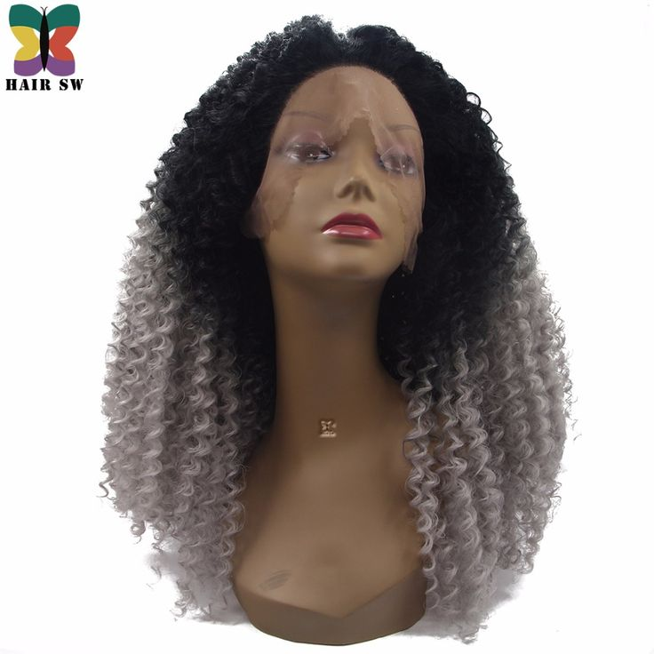 ==> [Free Shipping] Buy Best HAIR SW Long Synthetic Afro Kinky Curly Lace Front Wig Black Grey Ombre Natural Looking Dip Dye 180% Density Wig For Black Women Online with LOWEST Price | 32817691040