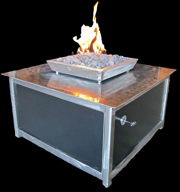 Modern Industrial Steel Outdoor Steel Fire Table With Stainless Steel  Burner And Fire Box And Powder