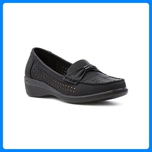 Softlites Damen Schwarz Casual Slipper Loafer mit Lochmuster - Größe 5 UK / 38 EU - Schwarz - Slipper und mokassins für frauen (*Partner-Link)
