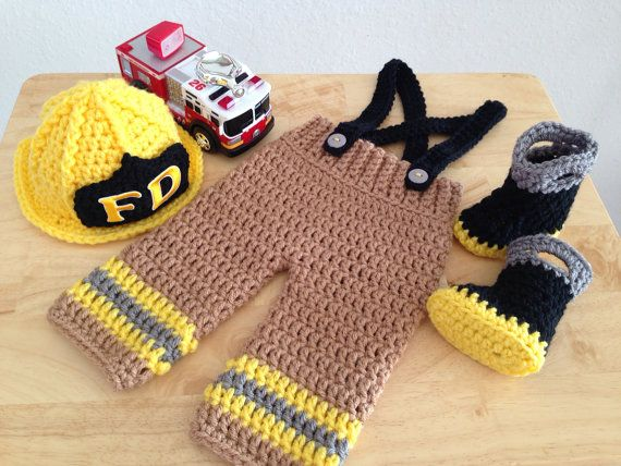 Crochet Patterns For Baby Frocks : Baby Firefighter Fireman Hat Outfit 4 pc Pant by ...
