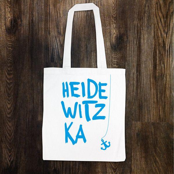 """Weißer Jutebeutel """"Heidewitzka"""" von HEIMSPIEL – Lauter Design auf DaWanda.com"""
