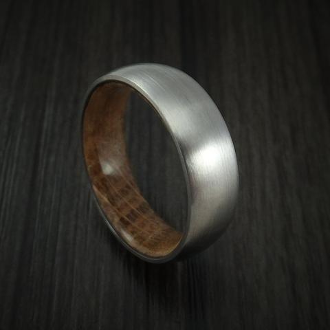 Titanium Ring with Jack Daniels Whiskey Barrel Wood Sleeve Custom Made Band
