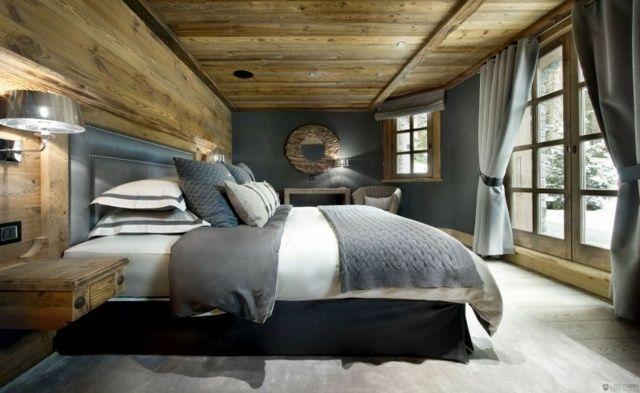 Schlafzimmer Vorhänge Bettdecke neutrale Wandfarbe Ideen rund - ideen schlafzimmer einrichtung stil chalet