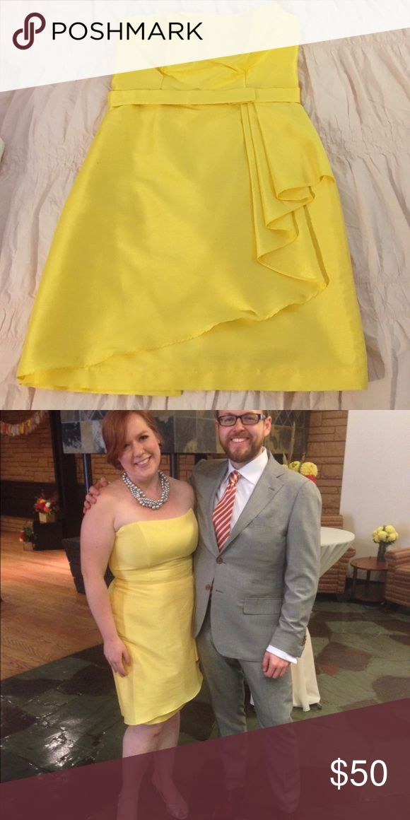 Yellow special occasion dress Worn once. Fitted bodice, knee length, beautiful yellow color with sheen. Would work great for a bridesmaid dress also! Alfred Sung Dresses Strapless