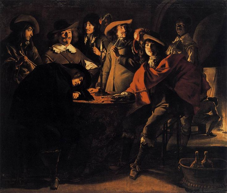 Smokers in an Interior    1643  Oil on canvas, 117 x 137 cm  Musée du Louvre, Paris    by Le Nain Brothers (b. 1598/1610, Laon, d. Louis and Antoine: 1648, Mathieu: 1677, Paris)