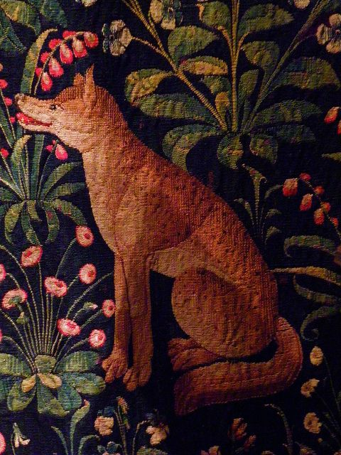 Fox detail from medieval tapestry National Musee Moyen de Ages de Cluny. Paris