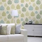 Crown Signature Leaf Wallpaper in Green - M1071