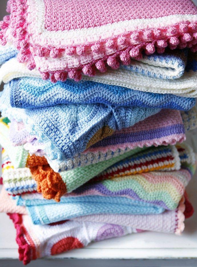 Crochet blankets pile | Cherry Frog