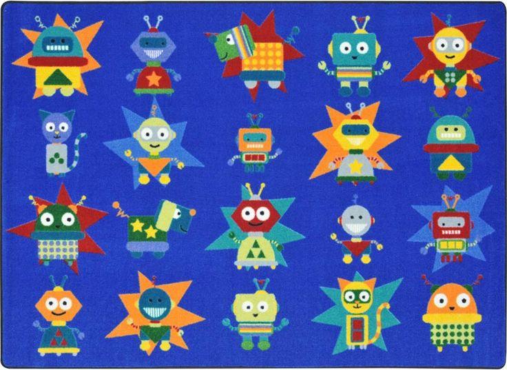 robot invasion classroom rug x - Classroom Rug