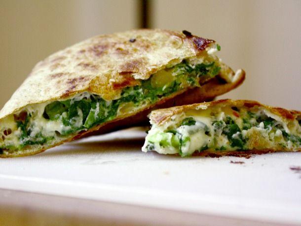 Feta Cheese and Spinach quesadilla made with Greek Yogurt YUM