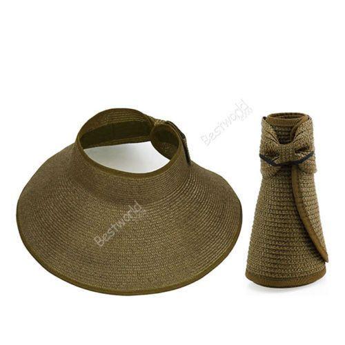 Free shipping 2016 Summer Hot Fashion New Women Lady Foldable Roll Up Sun Beach Wide Brim Straw Visor Hat Cap